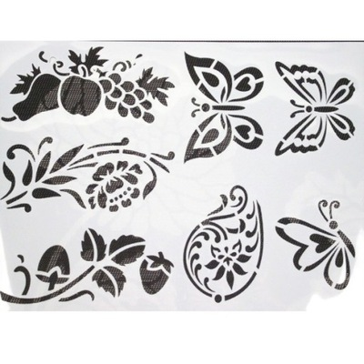 шаблон 29x39 пластиковый фрукты бабочки ЦВЕТОК красок