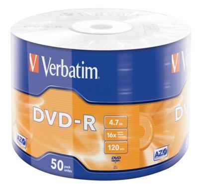 Płyty VERBATIM DVD-R 16x 4.7GB AZO Srebrne 50 szt