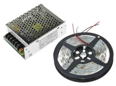 Osvetlenie nábytku LED pás - ZESTAW LED 5M 150LED 30/M Taśma 5050 BIAŁY ZIMNY