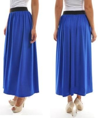 Długa spódnica kobaltowa piękna, lejąca