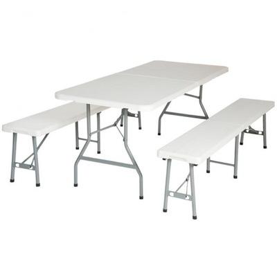 Záhradný Nábytok Stôl a 2 Lavice 401067