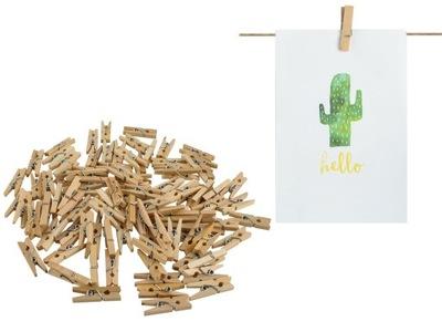 Зажимы деревянные мини Скрепок Лягушки 100 штук