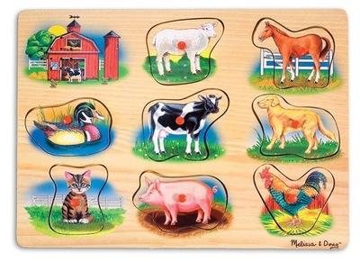 hudobné Drevené puzzle Farma Zvierat 8 ale.