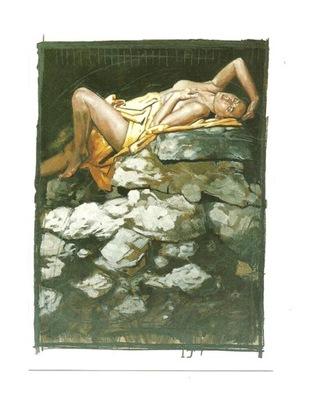 Открытка - Нико Vrielink, Półakt на камнях