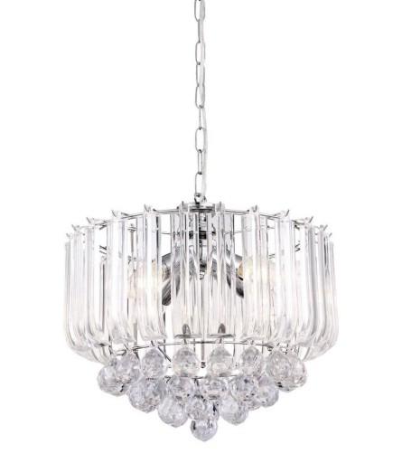 Lampa Wisząca Żyrandol z Kryształkami Salonu 4xE14