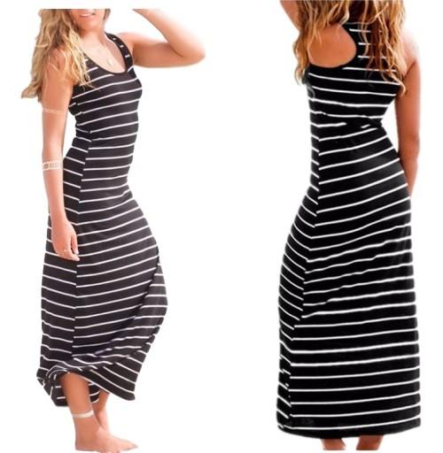 adfcead5ea Sukienka ołówkowa długa na lato paski maxi XL 42 (7547400226 ...