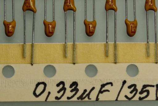 200szt 330nf tantal THT 0.33uf 35V R2.5mm AVX