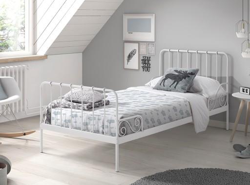 łóżko Metalowe 90x200 Alice Biały
