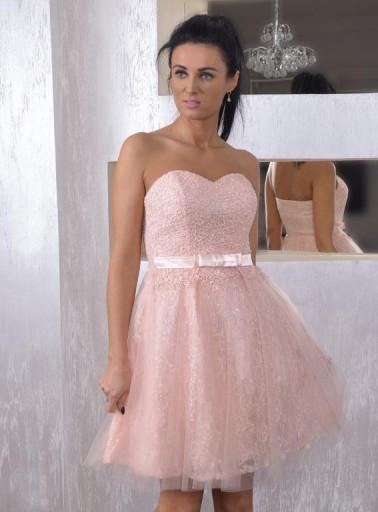 łososiowa Krótka Sukienka Koronkowa ślub Cywilny 5856793147 Allegropl
