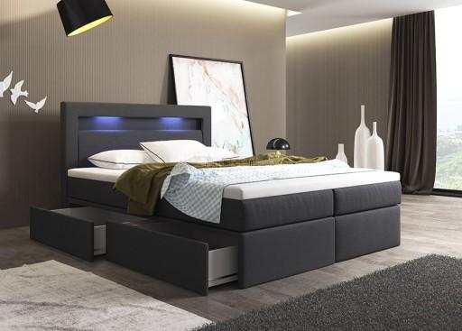 łóżko Kontynentalne 180200 Z Szufladami Led