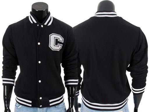 Czarna bluza kurtka bejsbolówka męska ze stójką L