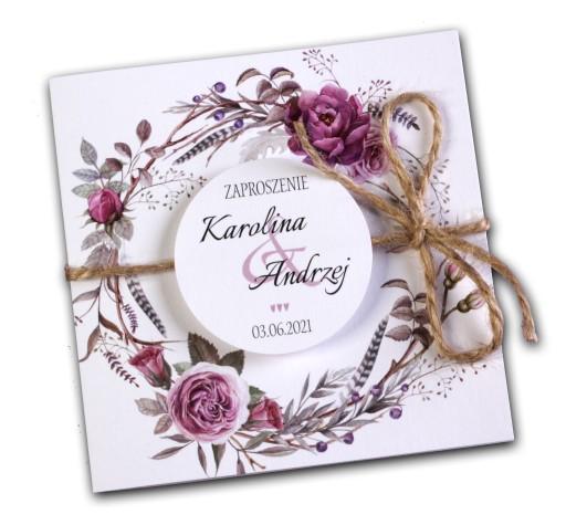 Zaproszenia ślubne Kwiatowe Wianki Rustykalne Boho 7473558613
