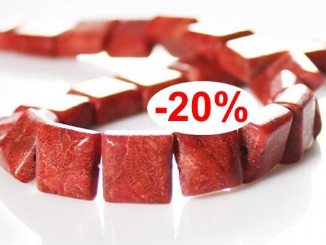 KALAIT Koral czerwony kwadrat 1,0cm 4szt K45