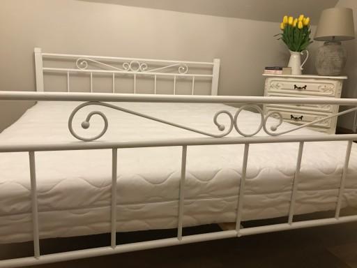 łóżko Metalowe Drewniane 140x200 Białe 7230253954 Allegropl