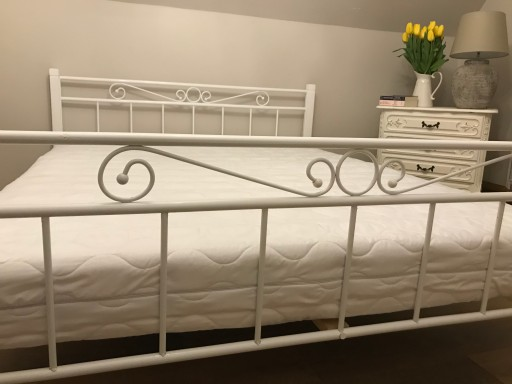 łóżko Metalowe Drewniane 140x200 Białe