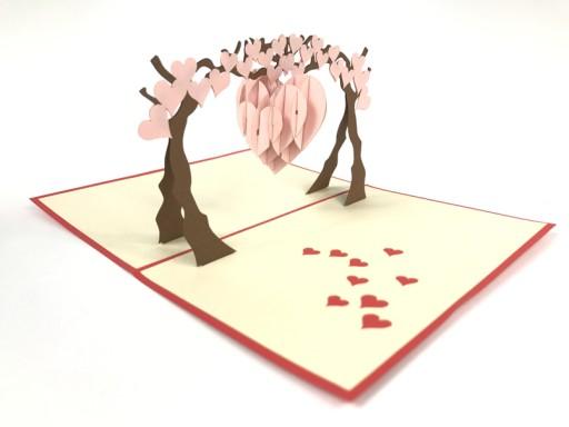 Serce Wiszące Na Drzewie, Kartka 3d, Walentynki