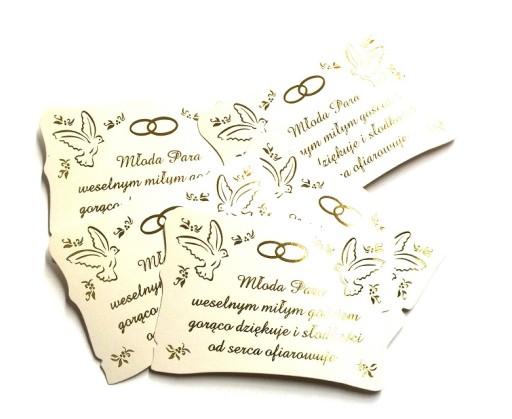 Inne rodzaje 5 x etykieta karteczka na kołacz, ciasto weselne 7311807472 FP46