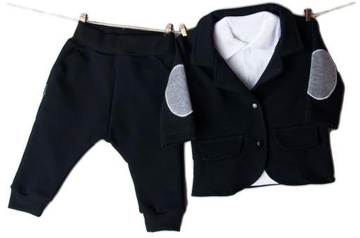 0b136323f23e9 GARNITUR niemowlęcy MARYNARKA + spodnie CHRZEST 86 7282536449 ...