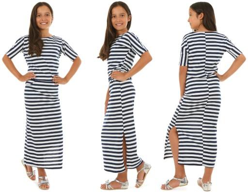 Długa sukienka W PASKI, MAXI 152-158 KROPEK