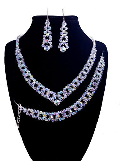 UNIVIA* Biżuteria Ślubna kryształki komplet AB