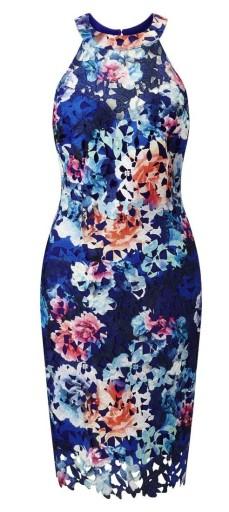 LIPSY ażurowa ołówkowa sukienka w kwiaty 36 S