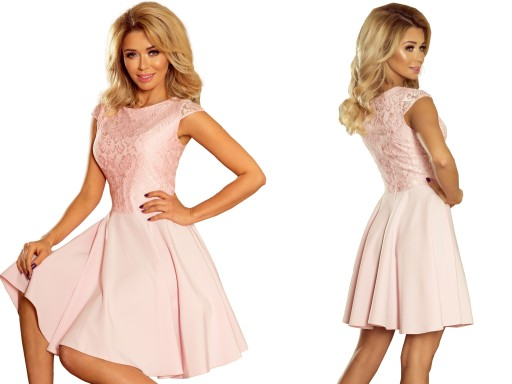 f22b57863c RÓŻOWA Sukienka Z Koronką WIECZOROWA 157-4 M 38 7365768792 - Allegro.pl