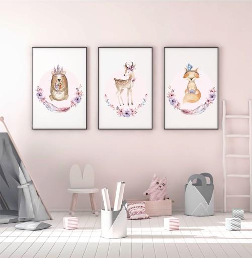 Plakaty Obrazki Dla Dzieci Leśne Zwierzęta Róż A4