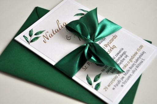 Zaproszenia ślub Wesele Greenery Butelkowa Zieleń 7758399789