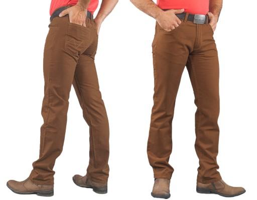 Duże Spodnie Męskie Bawełniane 844 pas 120 cm rudy
