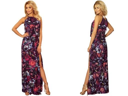 538718f929 ZWIEWNA Długa Sukienka Na Lato W KWIATY 191-1 XL 7498434213 - Allegro.pl