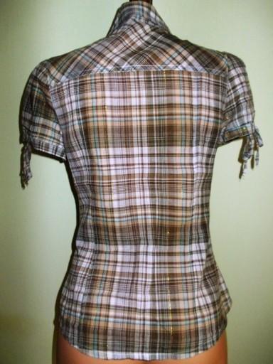 Bluzka koszula w kratkę krótki rękaw ( 38 / M )