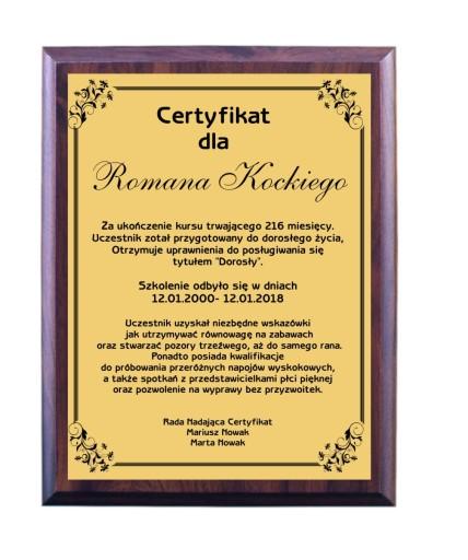 Dyplom Certyfikat 18 Lat 18 Urodziny Grawer 7348866894 Allegro Pl