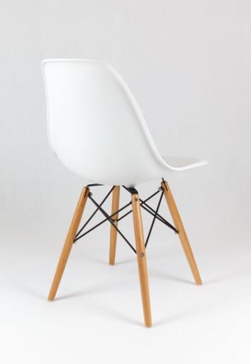 Nowoczesne białe krzesło do jadalni DSW DSR Eiffel