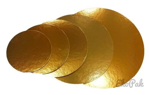 PODKŁAD POD TORT złoty okrągły  26cm 5 sztuk