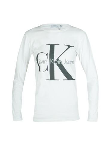 CALVIN KLEIN LONGSLEEVE DAMSKI BIAŁY CK logo M