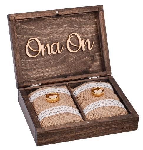 Pudełko drewniane na obrączki vintage ślub GRAWER