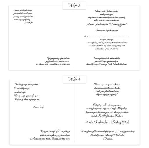 Zaproszenia ślubne Whiteart Zaproszenie Biały Druk 6692780409