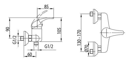 KFA Bateria natryskowa NEFRYT chrom 506-010-00