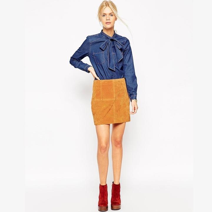 Women's denim shirt with a bow cheaply XL 42 9664446378 Odzież Damska Topy SZ HLOUSZ-2