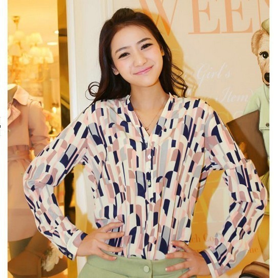 Women's stylish patterned mist print shirt S 9664445679 Odzież Damska Topy SE WZRASE-8