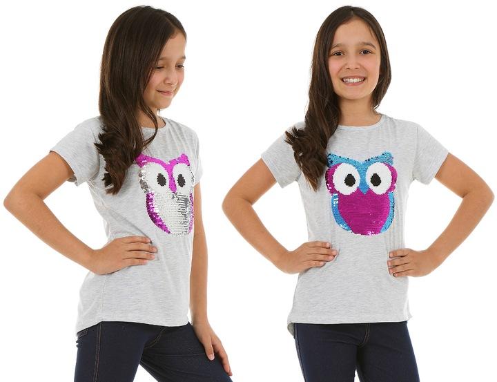 Koszulka, T-shirt z SOWĄ - 146 MAGICZNE CEKINY 7304697201 Dziecięce Odzież NE YXPLNE-9