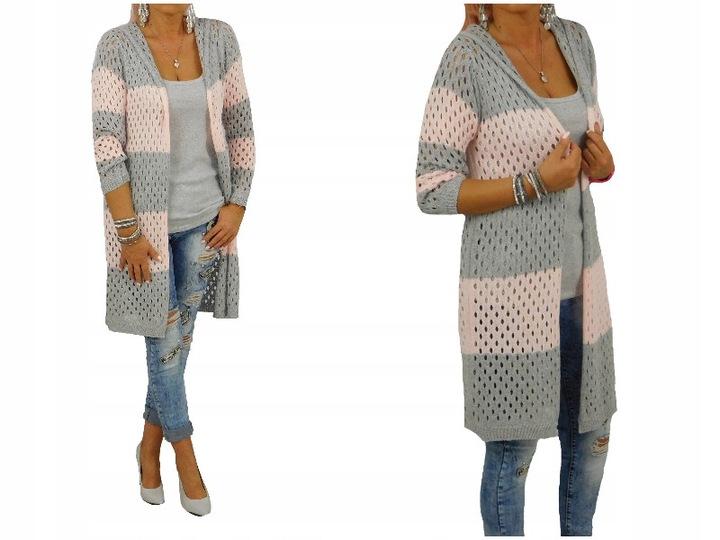 A103# Ażurowy Dłuższy Sweter Narzutka Kaptur Puder 7482578209 Odzież Damska Swetry ET SUMUET-4
