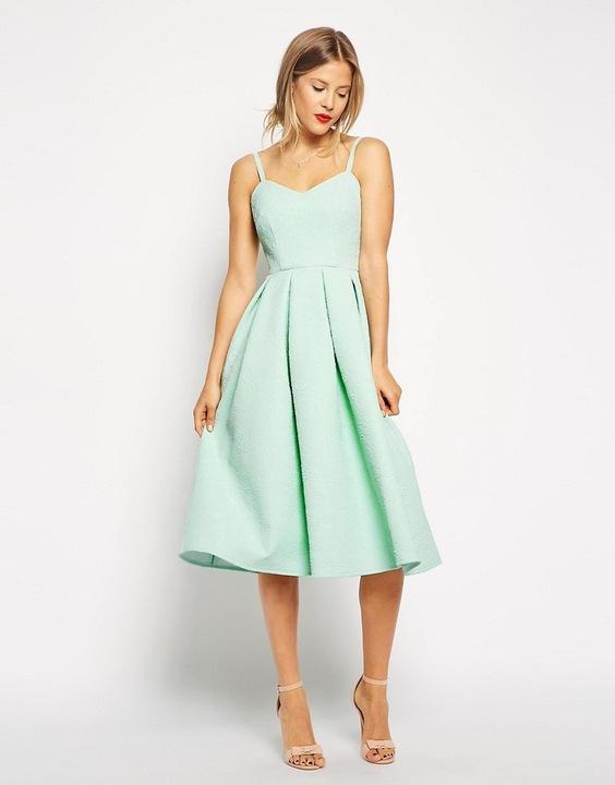 ASOS żakardowa rozkloszowana sukienka mięta 40 L 8634738205 Odzież Damska Sukienki wieczorowe GS PEJIGS-1